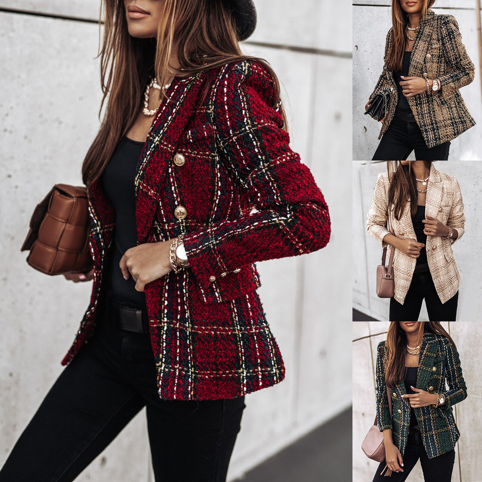 Plaid Blazer 2021 Women Spring-Autumn Vintage Tweed Suits Jackets Office Ladies Chic Slim Blazers Gi