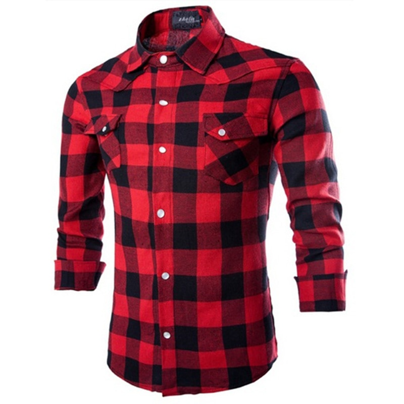Zogaa 100% Cotton Mens Plaid Shirt Slim Fit Spring Autumn Male Brand Casual Long Sleeved Shirts Soft Comfortable Plus Size S-4XL