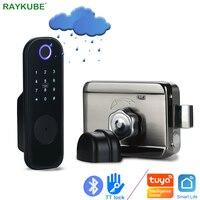 RAYKUBE Fingerprint Door Lock Electronic smart homePassword Phone APP Unlock Support Tuya/Smartlife/TT Lock APP Metal Gate Hotel