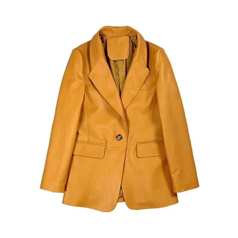 Spring Autumn Real Sheepskin Genuine Leather Suits Coat Yelloe Womens Outerwear Korean Suit Ladies Overcoat Gothic Coats Clothes