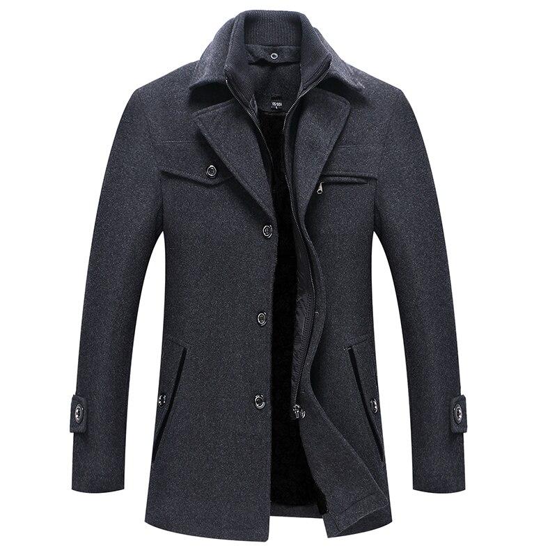 Шерстяная куртка, мужское Модное Новое мужское деловое повседневное шерстяное пальто, куртки, высококачественные однотонные мужские Бренд...