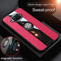 luxury protection phone case for xiaomi 10 t lite pro fashion anti fall cloth pattern armor with magnetic bracket back cover