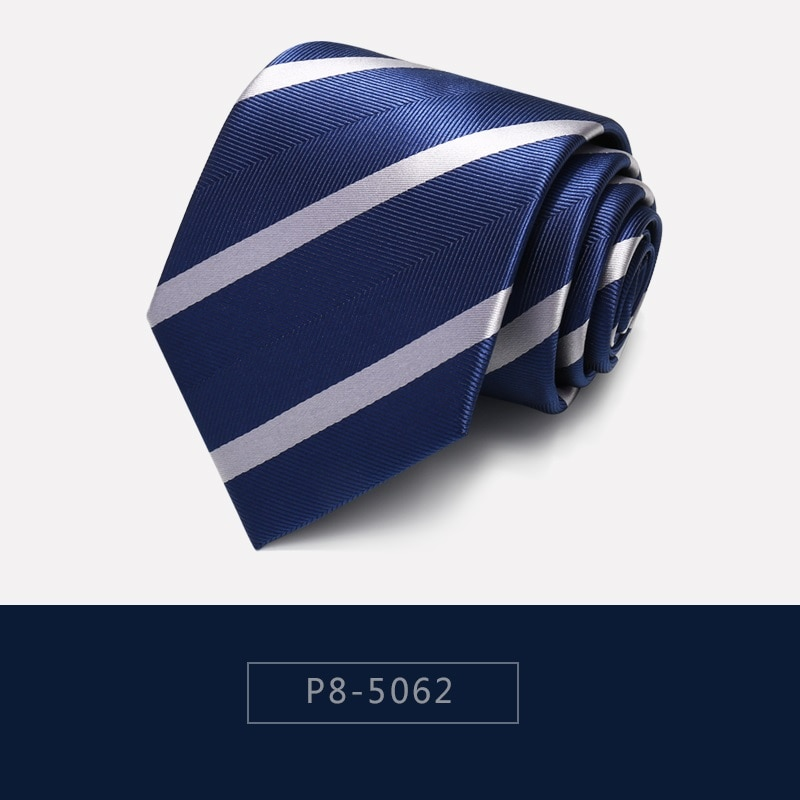 High Quality 2020 Designer New Fashion White Striped Dark Blue  8cm Ties for Men Necktie Work Business Formal Suit with Gift Box