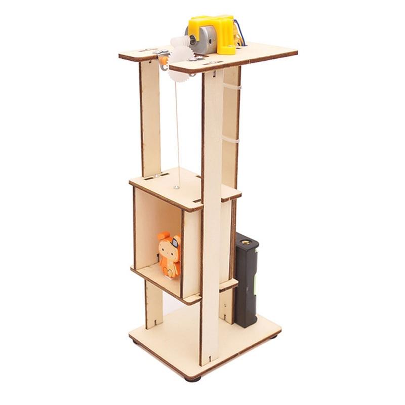 Elevador eléctrico de madera DIY creativo de 1 Uds., modelo de elevador para niños, juguetes para niños, experimentos de ciencia, rompecabezas, Kits de innovación, juguetes educativos