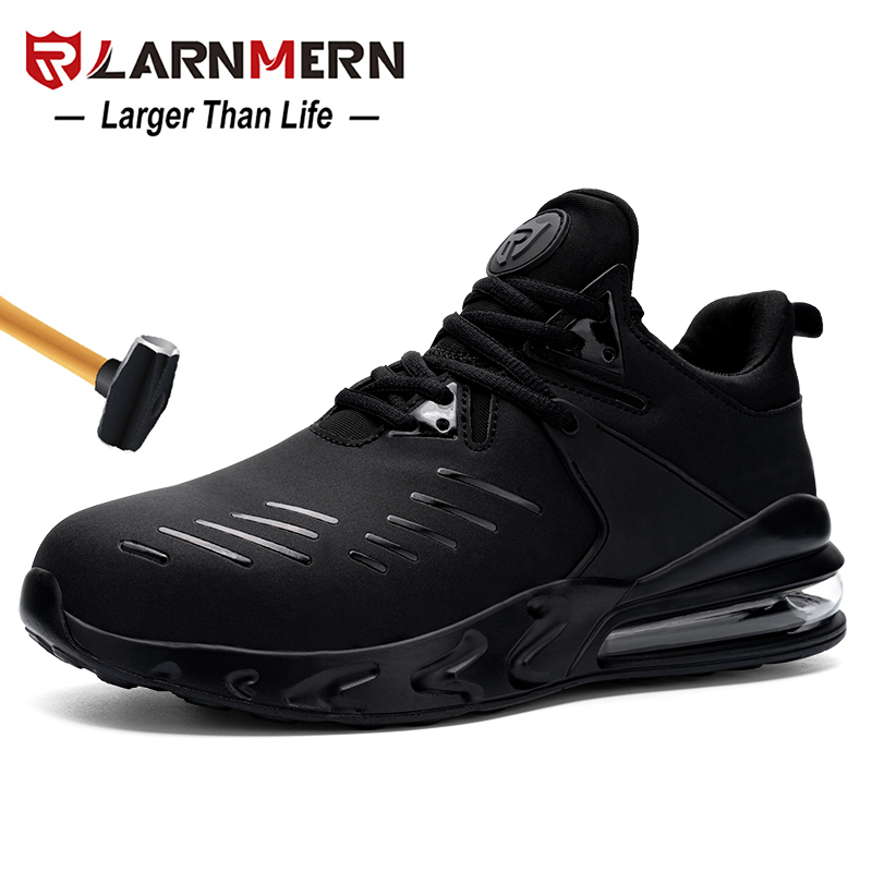 LARNMERN Men's Steel Toe Work Safety Shoes Air-cushion Anti-smashing Water-proof Non-slip Shock-proof Construction Sneaker
