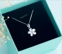 925 real sterling silver white enamel flower plumeria hawaii necklace hibiscus pendant with cz chain 18 gtlx608