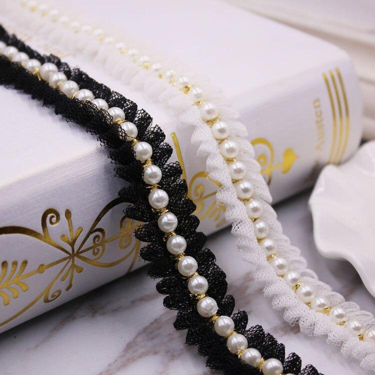 1 jardas/lote vintage náilon ouro pérola frisado laço fita guarnição tecido bordado feito à mão traje vestido saia costura rendas suprimentos