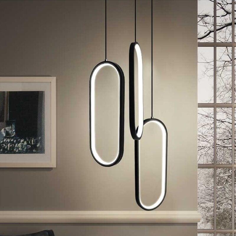 2020 تصميم الحد الأدنى قلادة LED ضوء لغرفة النوم السرير المطبخ مصباح معلق المنزل الداخلية إضاءة ديكورية أسود أبيض