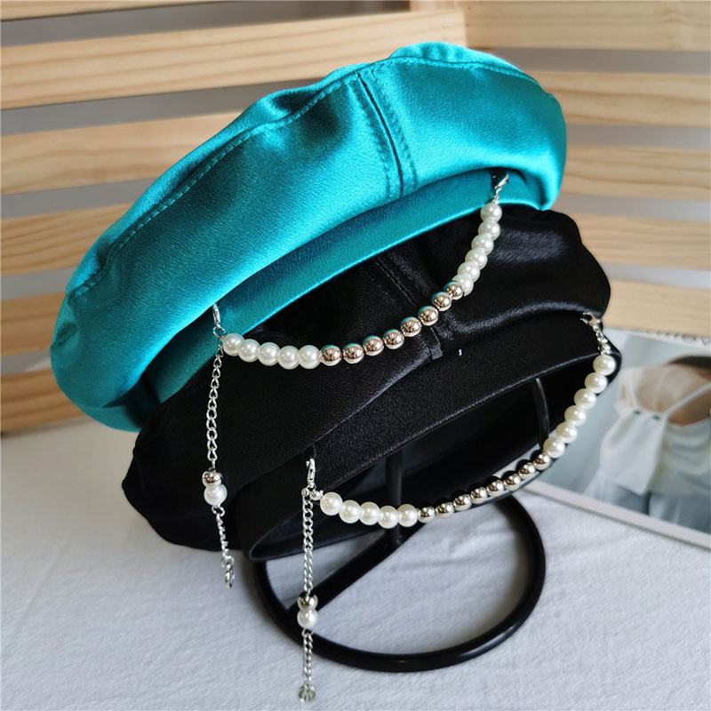 Early Summer New Satin Berets For Women Pearl Chain Korean Fashion Cute Painter Hat Girls Personalit