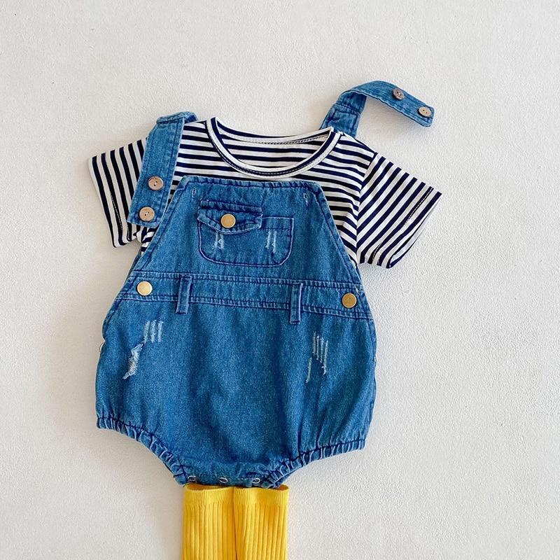 MILANCEL 2021 Baby Bodysuits Denim Girls One Piece Toddler Boys Jumpsuits Newborn Clothes