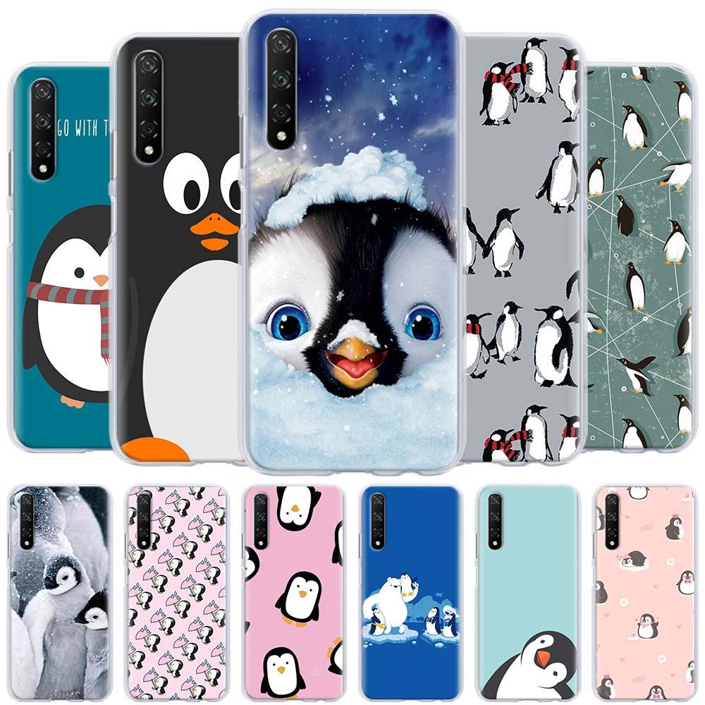 Bonita funda de pingüino para Huawei Honor 8A 9A 8X 9X Pro 9S 9C 10i 20i 10 20 Lite 30 Pro 30S X10 carcasa dura para teléfono