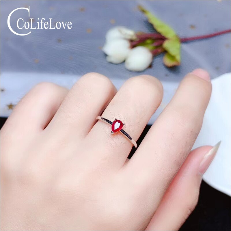 Joyería de CoLife 100% anillo de rubí rojo de sangre Real para compromiso anillo de plata de rubí de 3mm * 5mm piedra preciosa Simple anillo para mujer de oficina
