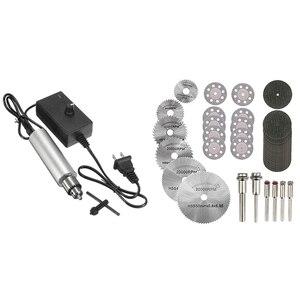 36PCS Rotary Cutting Wheels Tool Kit, Mini Diamond Cutting Wheel with Us Plug Dc 6V-24V Mini Electric Hand Drill 385 Dc Motor wi