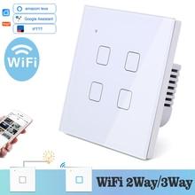 WIFI táctil luz interruptor de pared de vidrio blanco azul LED Universal de casa inteligente de teléfono de Control de 4 2 relé de plaza Alexa de Google