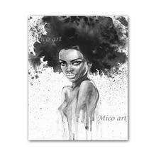 Nouveau Design africain Sexy couleur chair de dame   Noir et blanc, fait à la main, images murales abstraites, toile, décoration murale pour la maison