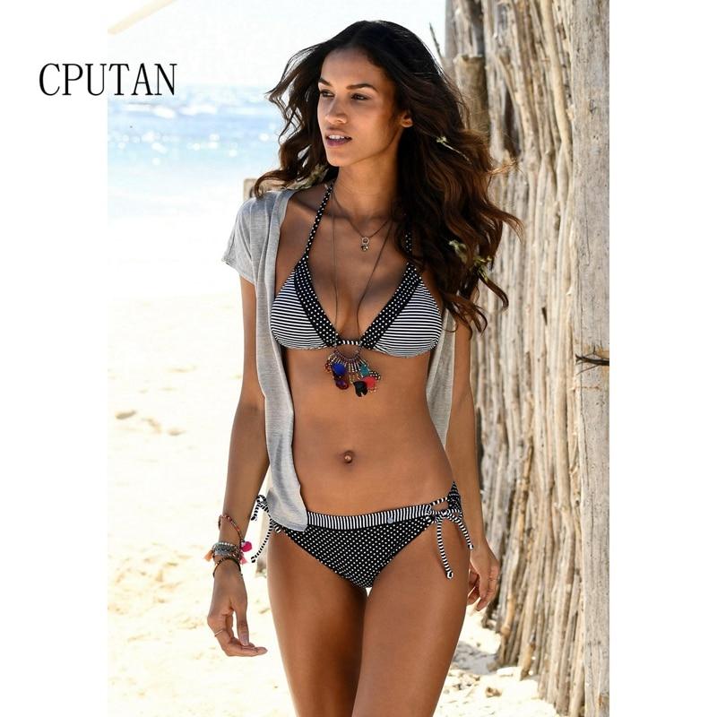 Monokini 2020 Neue streifen Bikini set Push-Up Retro Dots Bademode Zwei stücke Push up Badeanzug Weiblichen badeanzug Günstige große Größe