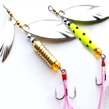 1 Pcs Metal Sliver Rotating Sequins Spoon Lure 7g/10g Spinner Fishing Hard Bait with Feather Treble Hook Fishing Accessories