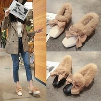 2020 winter fashion the new high heels womens shoes butterfly knot square toe party slip on square heel plush med 3cm 5cm pu