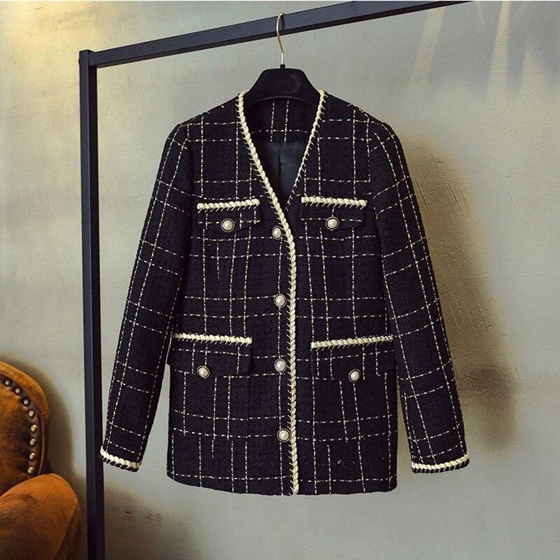Luxus Designer Marke Wolle Blends Mantel für Frauen Mode Schwarz Vintage V Neck Plaid Breite Taille Tweed Mantel