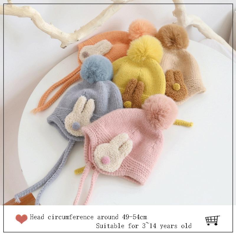 Super Cute Rabbit Children's Wool Knitted Hat Men and Women Baby Hat