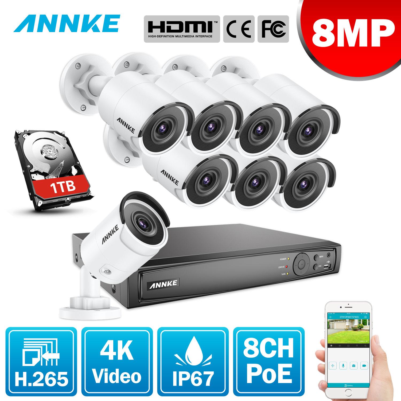 ANNKE 8CH 4K Ultra FHD POE sistema de vídeo de red de seguridad 8MP H.265 NVR con 8X 8MP 30m EXIR visión nocturna cámaras IP a prueba de intemperie