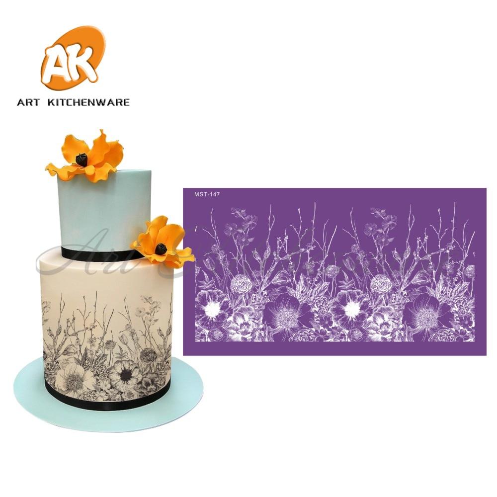 Malla con flores plantilla tarta pastel de decoración de la boda herramientas de decoración de boda plantillas de tela suave para molde de pastel de Fondant