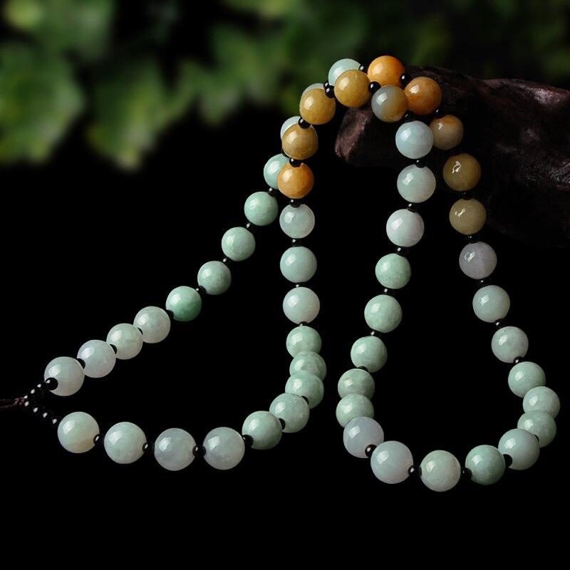 Naturel Myanmar jade fait à la main pendentif collier corde véritable jadéite jade corde chaîne jade bijoux en gros lots certificat en vrac