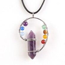 FYJS Unique fil plaqué argent avec perles colorées améthystes naturelles hexagone colonne pierre pendentif collier Chakra bijoux