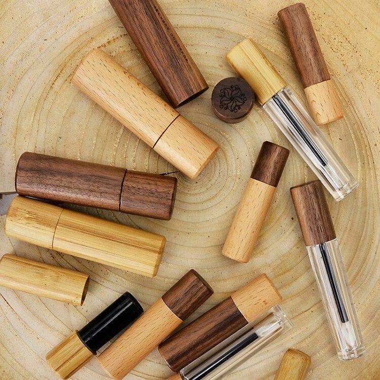 3g 5g bambú labio vacío contenedor bruto lápiz labial tubo DIY contenedor labio bálsamo tubos 5ml pintalabios con tubo de bambú contenedor de cosméticos