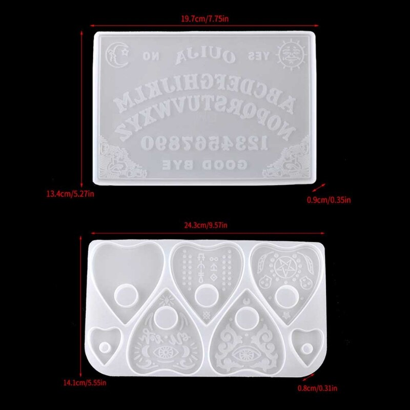 2Pcs Ouija- Board Planchette Resin Molds Gothic Game Keychain Pendant Epoxy Silicone Jewelry Making P15C
