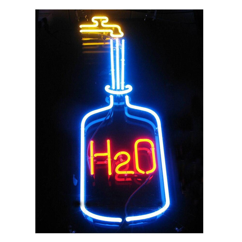 H2O-علامة نيون على شكل زجاجة ماء ، مصنوعة يدويًا ، شريط أنبوب زجاجي حقيقي ، KTV ، إعلان عن حفلة ، ديكور منزلي ، هدية عرض ، 8 × 19 بوصة