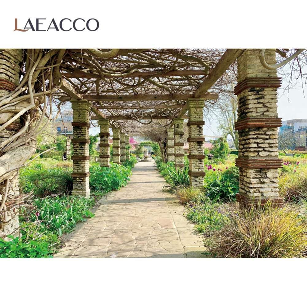 Laeacco Old Stone Pillar Spring Plants  Green Grass Archway Scenic View Photography Background Photo Backdrop For Studio