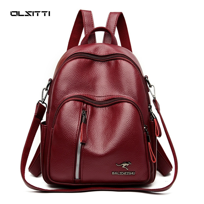 OLSITTI Fashion Casual Backpack for Women 2021 PU Leather Travel High Capacity Shoulder Bags Quality Multifunctional Backpack kujing multifunctional backpacks high quality women backpack cheap trend female student bags hot women travel casual backpack