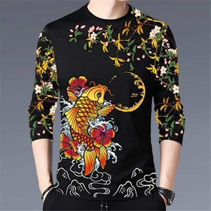 New Autumn And Winter Printing Hanfu Casual Men's Long-Sleeved T-Shirt Chinese Style Trend Young And Middle-Aged Fashion M - 4XL
