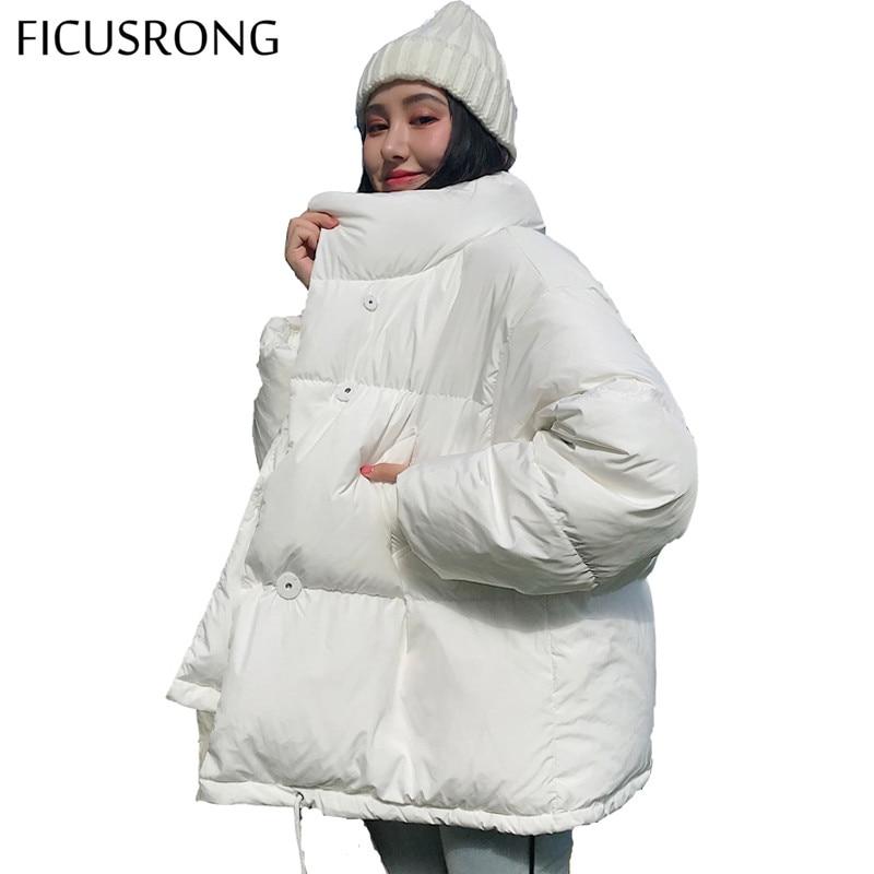 Otoño Invierno chaqueta mujer cuello sólido negro blanco mujer abrigo suelto sobredimensionado mujer Parka corta