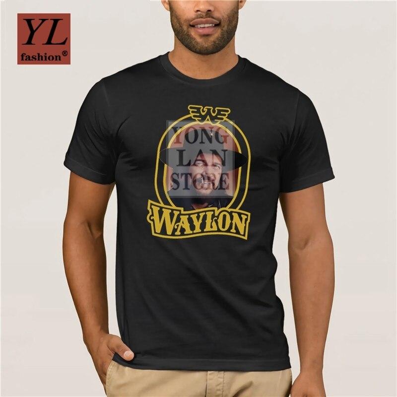 Camiseta negra Tops Waylon jenners Outlaw música campestre Waylon jenners Dios calle corto manga