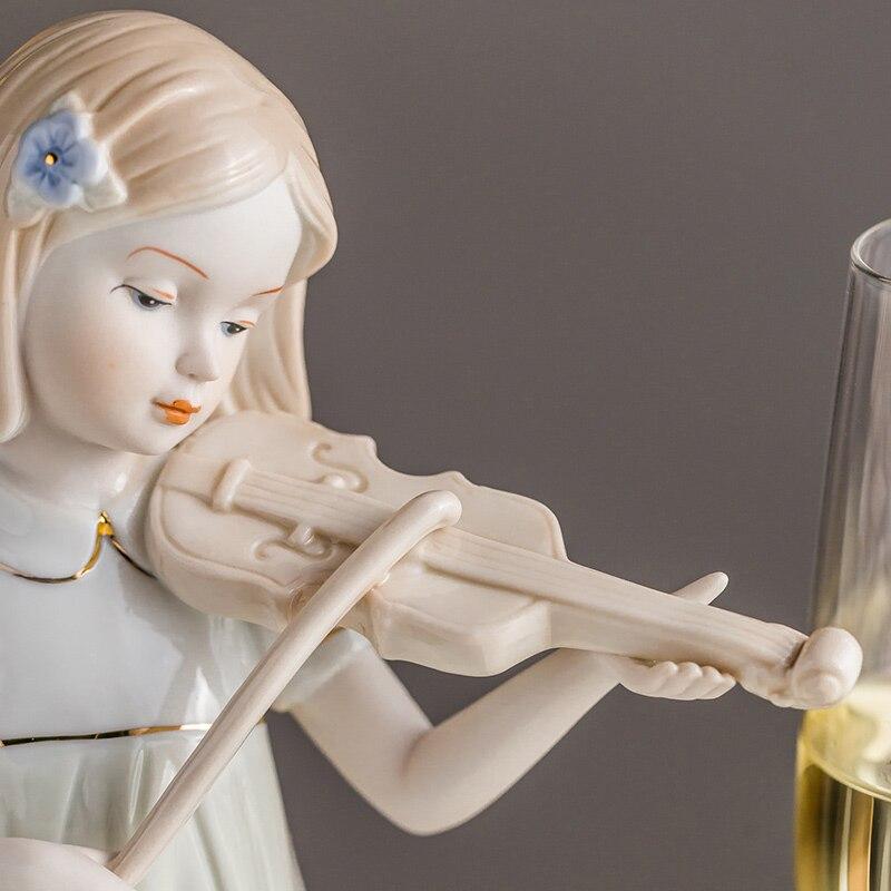 Jogar o Violino Estátua de Porcelana Ocidental Menina Escultura Artesanal Arte Collectibles Cerâmica Estatueta Nova Casa Decoração Presentes Criativos