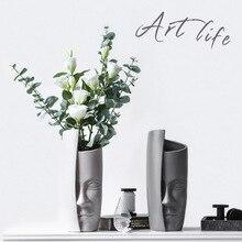 Große Schwarz Und Weiß Keramik Gesicht Vase Nordic Hause Dekorative Tisch Blume Vasen Menschen Gesicht Großen Kopf Vase Topf Für hochzeit