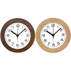 4 Inch Small Retro Analog Wooden Alarm Clock with Night Light, Round Non-Ticking Battery Operated Silent
