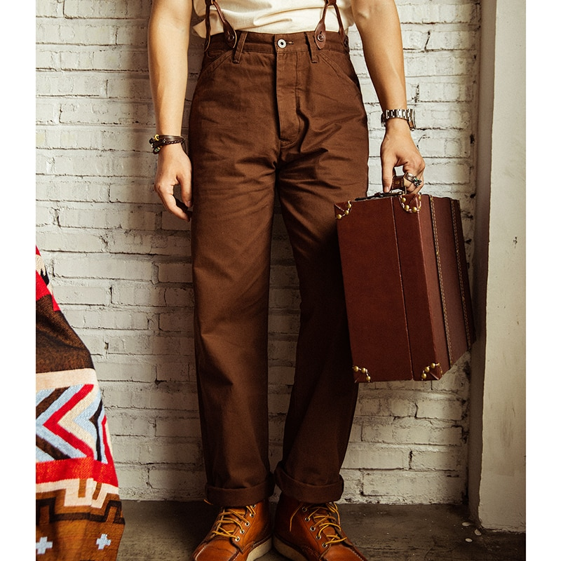CK-0010 WW2 US Army Officer Trousers Heavy 310 GSM High Quality Waist Cotton Casual Chino Vintage Pants 3 Colours