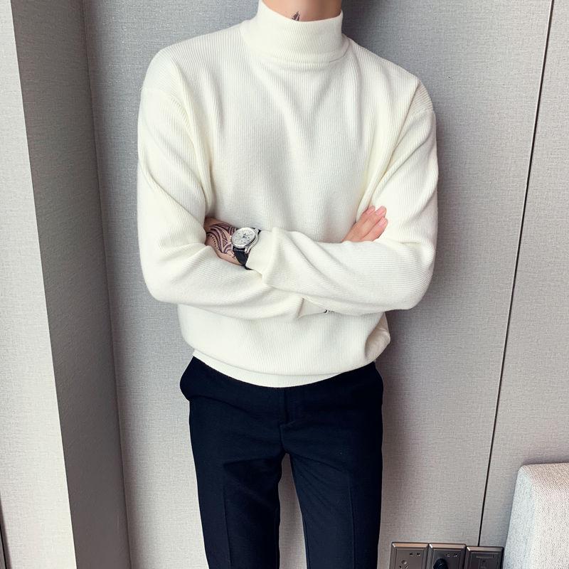 Мужской повседневный свободный шерстяной свитер с длинным рукавом и воротником средней длины, однотонный пуловер с высоким воротником, кашемировая вязка