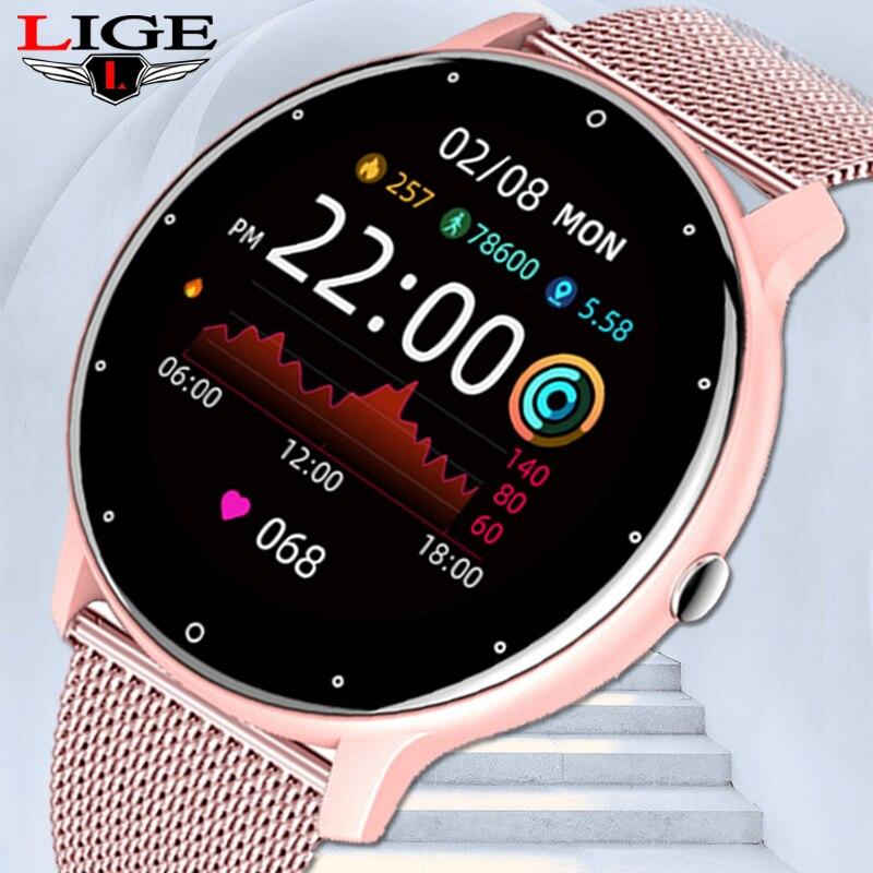 LIGE 2021 جديد ساعة ذكية النساء كامل شاشة تعمل باللمس الرياضة اللياقة البدنية ساعة IP67 مقاوم للماء بلوتوث للرجال أندرويد ios smartwatch