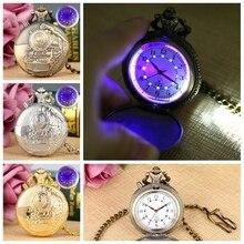 Noctilucent LED Flash cuarzo reloj de bolsillo único bronce/plata/oro tren locomotora motor FOB cadena luminosa hora reloj de lujo