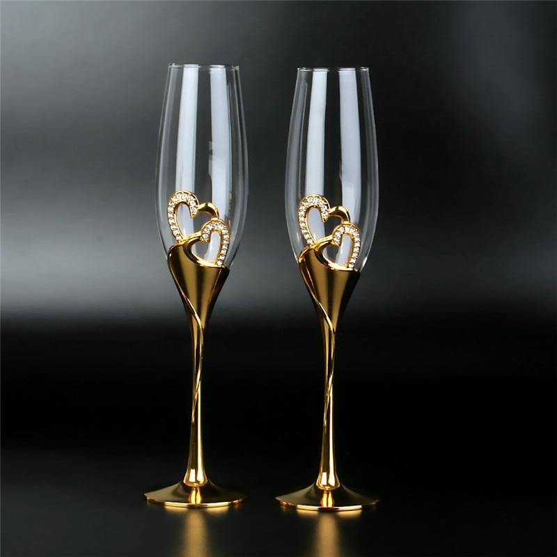 2 قطعة/المجموعة الزفاف الكريستال كؤوس الشامبانيا الذهب حامل معدني المزامير كؤوس مشروبات حزب القدح عشاق عيد الحب الهدايا 200 مللي
