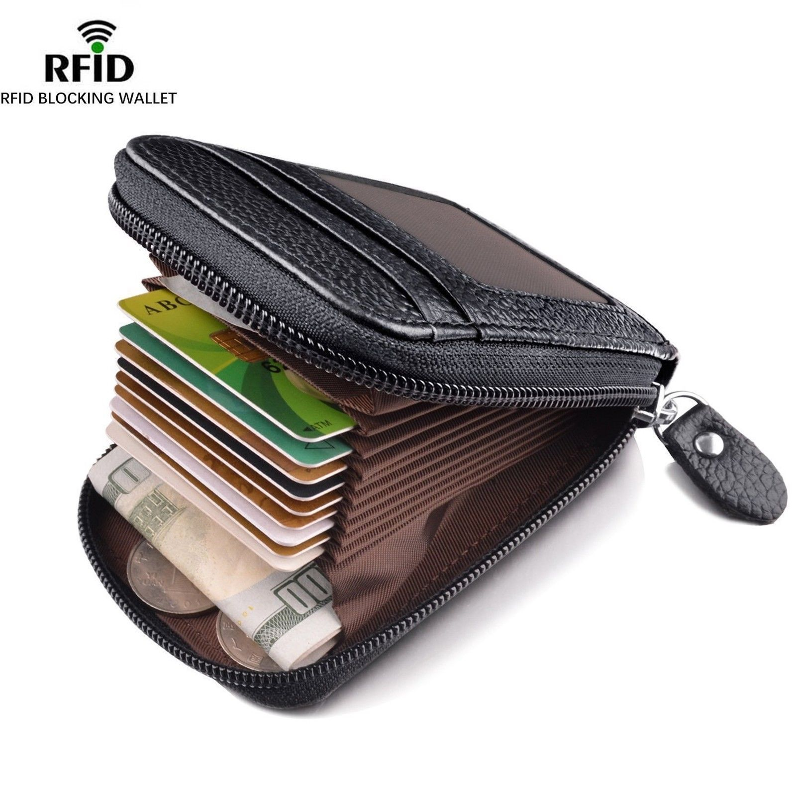 Men's Wallet Genuine Leather Credit Card Holder RFID Blocking Zipper Pocket Men bag