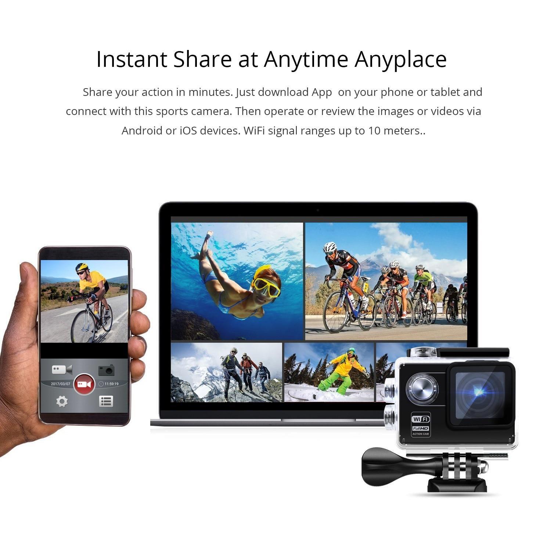 OZOM 170° wide Action Camera Ultra HD 1080P 30fps WiFi 2.0-inch Underwater Waterproof Helmet Video Cameras Sport Car Recording enlarge