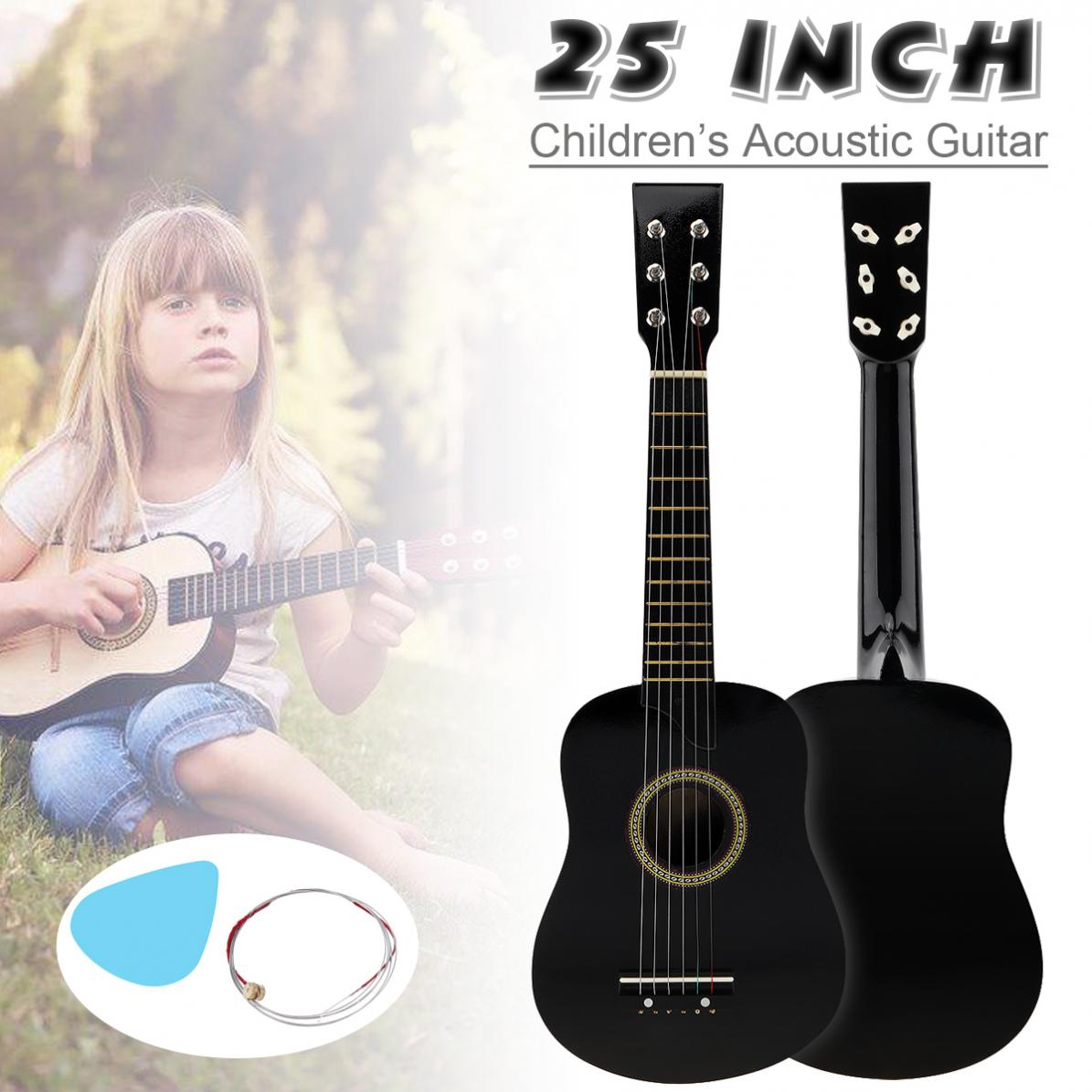 25 Inch Basswood Acoustic Guitar with Pick Strings Toy Guitar for Children and Beginner Send gifts Musical Stringed Instrument enlarge