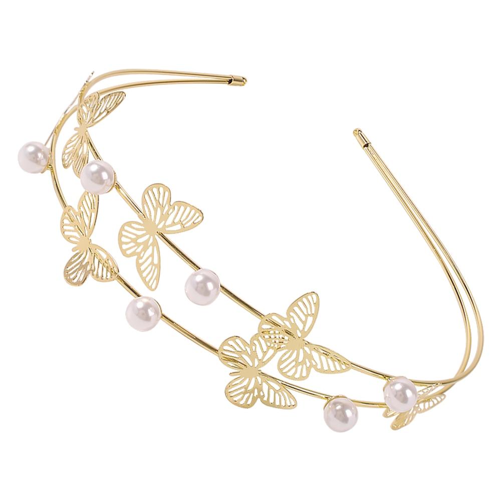 2020 accesorios para el cabello de mariposa de moda para mujeres, diademas de perlas simuladas, diadema de corona para el cabello, regalos de joyería para boda