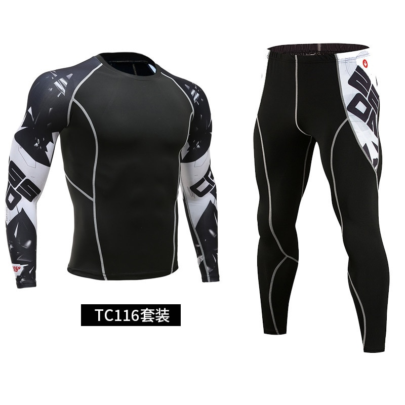 Men's Compression Sportswear Suits Gym Tights Training Clothes Workout Jogging Sports Set Running Rashguard Tracksuit For Men