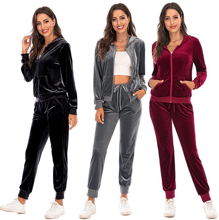 Fashion 2 Pieces Set Women Autumn Sweatshirt Casual Long Tops Pants Tracksuit Suit Outfits Leisure sport